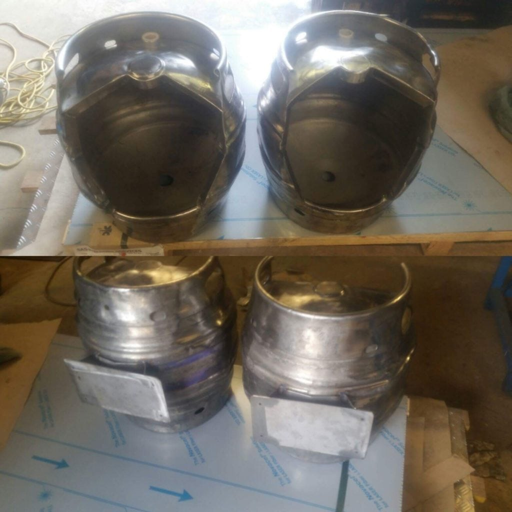 custom fabricated pub urinals from beer kegs