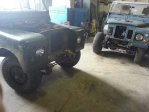Land Rovers in Workshop for Welding and Repair